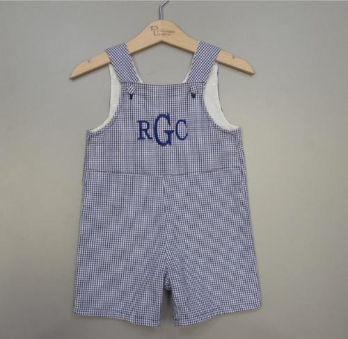 Monogrammed Boys Blue Seersucker Romper  Apparel & Accessories > Clothing > Baby & Toddler Clothing > Baby & Toddler Outfits
