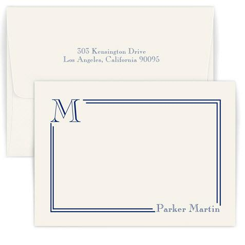Personalized South Hampton Raised Ink Correspondence Card with Initial  Office Supplies > General Supplies > Paper Products > Stationery