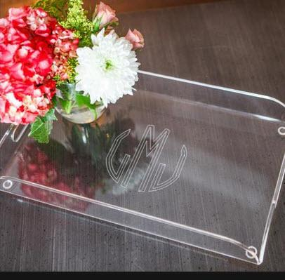 Monogrammed Acrylic Serving Tray With Handles  Home & Garden > Kitchen & Dining > Tableware > Serveware > Serving Trays