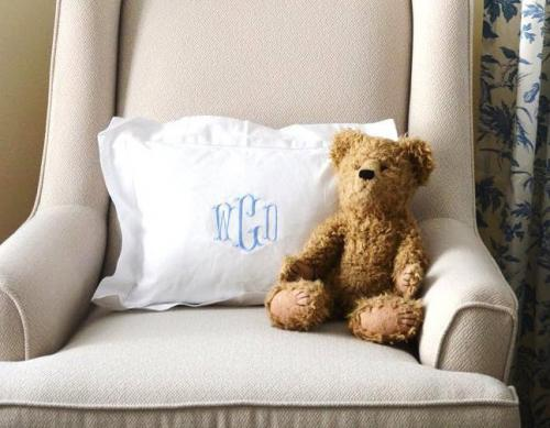 Monogrammed White Boudoir or Baby  Pillow   Home & Garden > Linens & Bedding > Bedding > Pillows