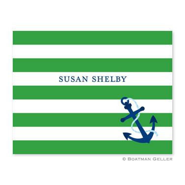 Boatman Geller Personalized Anchor Stripe Note  Office Supplies > General Supplies > Paper Products > Stationery
