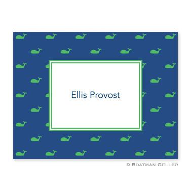 Boatman Geller Personalized Whale Blue Foldover Note  Office Supplies > General Supplies > Paper Products > Stationery
