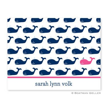 Boatman Geller Personalized Whale Foldover Note  Office Supplies > General Supplies > Paper Products > Stationery