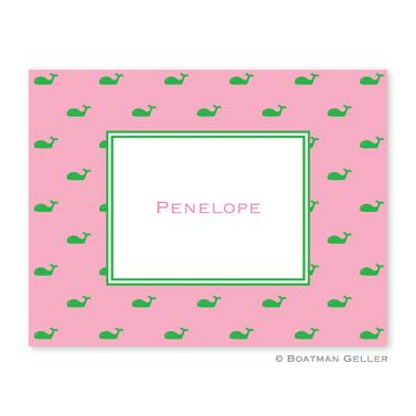 Boatman Geller Personalized Whale Pink Foldover Note  Office Supplies > General Supplies > Paper Products > Stationery
