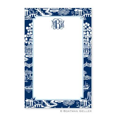 Boatman Geller Personalized Chinoiserie Navy Notepads  Office Supplies > General Supplies > Paper Products > Notebooks & Notepads