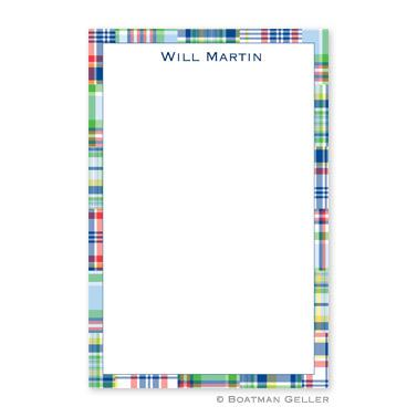 Boatman Geller Personalized Notepad with Madras Patch Blue Pattern  Office Supplies > General Supplies > Paper Products > Notebooks & Notepads