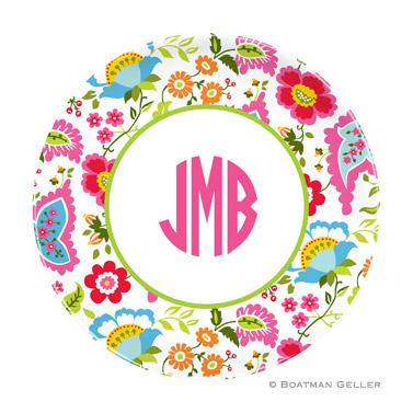 Boatman Geller Personalized Melamine Plate with Bright Floral Pattern  Home & Garden > Kitchen & Dining > Tableware > Dinnerware > Plates