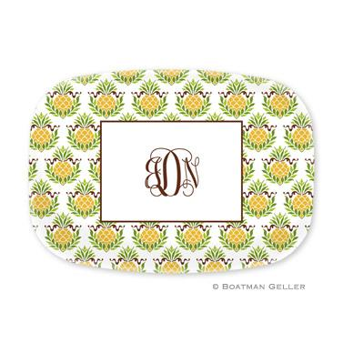 Personalized Pineapple Repeat Melamine Platter  Home & Garden > Kitchen & Dining > Tableware > Serveware > Serving Platters