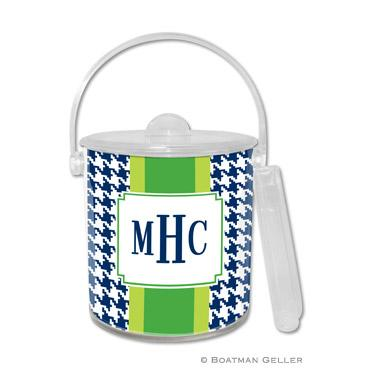 Boatman Geller Personalized Ice Bucket in Alex Houndstooth Navy Pattern  Home & Garden > Kitchen & Dining > Food & Beverage Carriers > Wine Buckets & Chillers