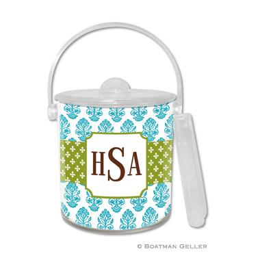 Boatman Geller Personalized Ice Bucket in Beti Teal Pattern  Home & Garden > Kitchen & Dining > Food & Beverage Carriers > Wine Buckets & Chillers