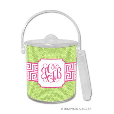 Boatman Geller Personalized Ice Bucket in Greek Key Band Pink Pattern  Home & Garden > Kitchen & Dining > Food & Beverage Carriers > Wine Buckets & Chillers
