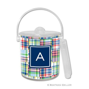 Boatman Geller Personalized Ice Bucket in Madras Patch Blue Pattern  Home & Garden > Kitchen & Dining > Food & Beverage Carriers > Wine Buckets & Chillers