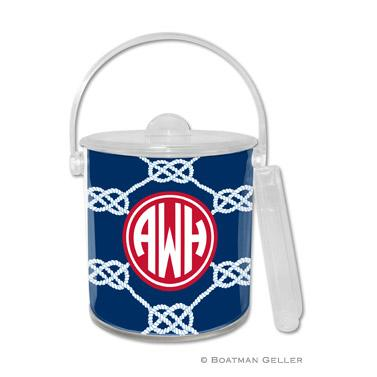 Boatman Geller Personalized Ice Bucket in Nautical Knot Navy Pattern   Home & Garden > Kitchen & Dining > Food & Beverage Carriers > Wine Buckets & Chillers
