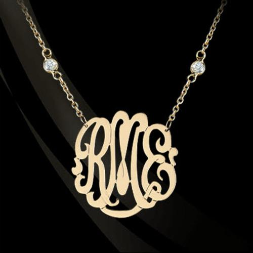 Monogrammed Necklace on a CZ Chain   Apparel & Accessories > Jewelry > Necklaces
