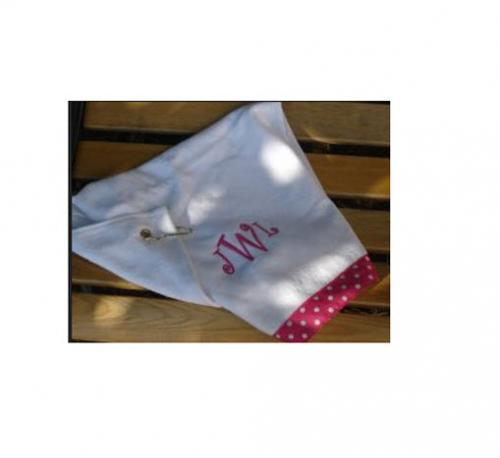 Monogrammed Ladies Golf Towel with Ribbon Choice  Sporting Goods > Outdoor Recreation > Golf > Golf Towels