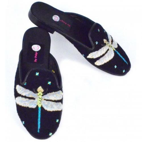 By Paige Ladies Needlepoint Dragonfly Mules  Apparel & Accessories > Shoes > Clogs & Mules