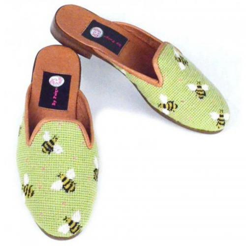By Paige Ladies Needlepoint Green Bumble Bee Mules   Apparel & Accessories > Shoes > Clogs & Mules