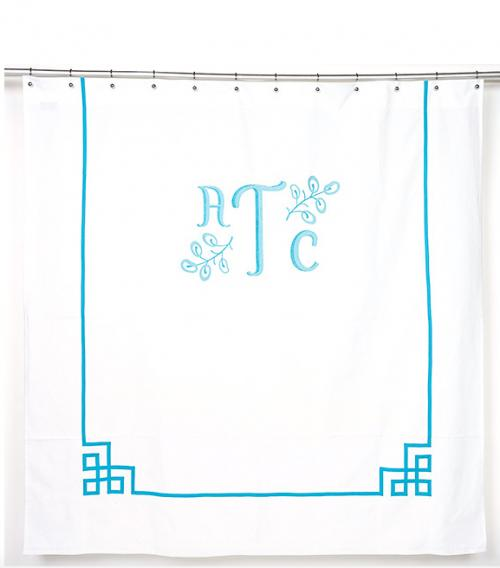 Monogrammed Shower Curtain from Jane Wilner Designs  Home & Garden > Bathroom Accessories > Shower Curtains