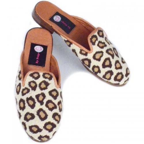 By Paige Needlepoint Ladies Leopard mules  Apparel & Accessories > Shoes > Clogs & Mules