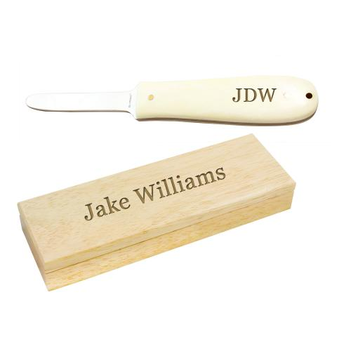 Monogrammed Natural Bone Shucker Oyster Knife  Home & Garden > Kitchen & Dining > Kitchen Tools & Utensils > Kitchen Knives
