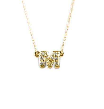 Petite Solid Gold Single Letter Initial with Diamonds  Apparel & Accessories > Jewelry > Necklaces