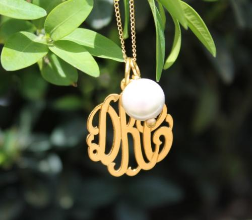 Monogrammed Script Hand Cut Pendant with Pearl Charm  Apparel & Accessories > Jewelry > Necklaces