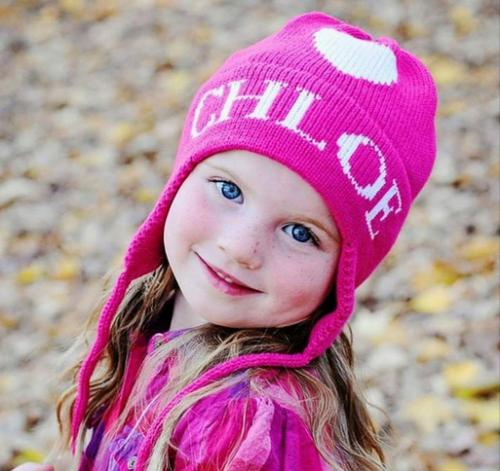 Monogrammed Child's Knit Hat With Ear Flaps  Apparel & Accessories > Clothing Accessories > Baby & Toddler Clothing Accessories > Baby & Toddler Hats