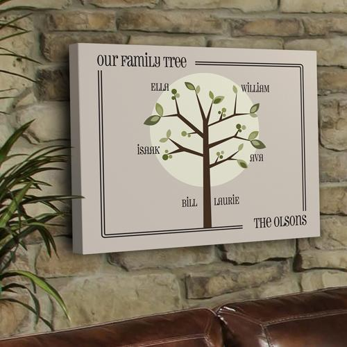 Personalized Canvas Sign Family Tree Print in Three Designs  Home & Garden > Decor