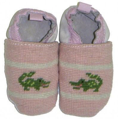 By Paige Child's Needlepoint Pink Gator Booties  Apparel & Accessories > Shoes > Baby & Toddler Shoes