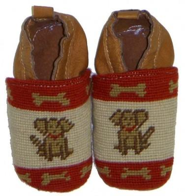 By Paige Needlepoint Brown Dog Baby Booties   Apparel & Accessories > Shoes > Baby & Toddler Shoes