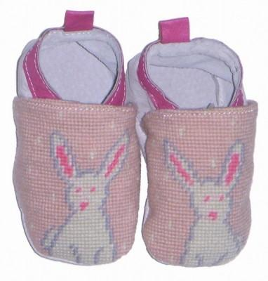 By Paige Needlepoint Bunny Baby Booties    Apparel & Accessories > Shoes > Baby & Toddler Shoes