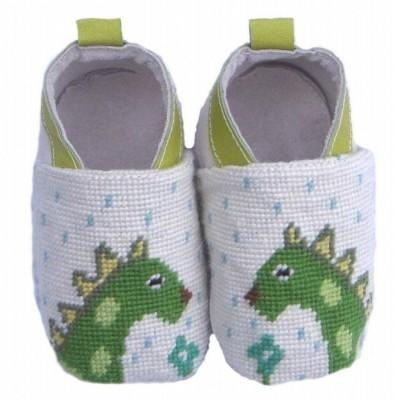 By Paige Needlepoint Dinosaur Baby Booties  Apparel & Accessories > Shoes > Baby & Toddler Shoes