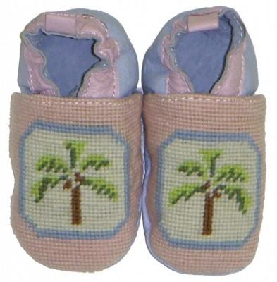 By Paige Needlepoint Pink and Blue Palm Baby Booties   Apparel & Accessories > Shoes > Baby & Toddler Shoes