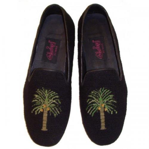 Needlepoint Palm Tree Loafers for Men Hand Stitched By Paige  Apparel & Accessories > Shoes > Loafers