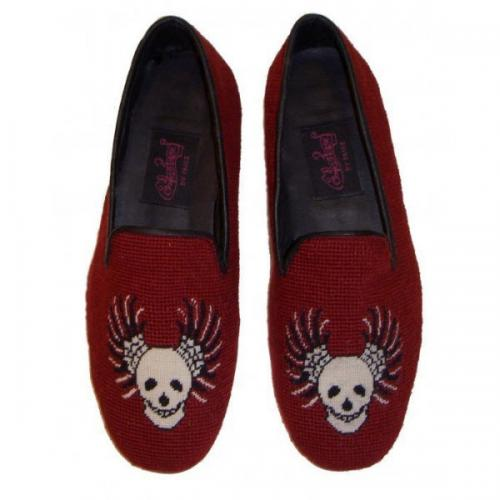 Needlepoint Winged Skull Loafers for Men Hand Stitched By Paige  Apparel & Accessories > Shoes > Loafers