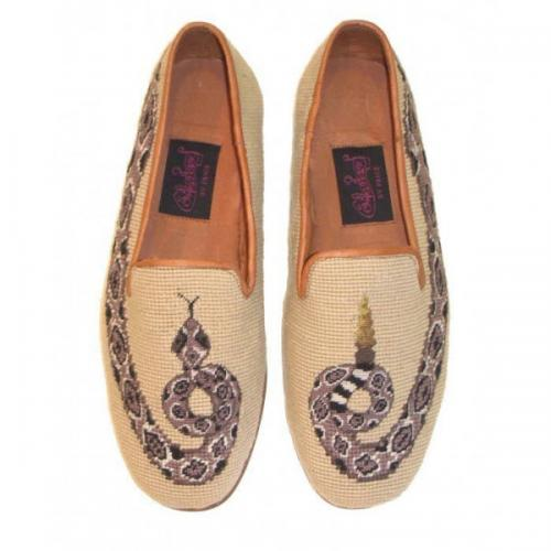 Needlepoint Rattlesnake Loafers for Men Hand Stitched By Paige  Apparel & Accessories > Shoes > Loafers