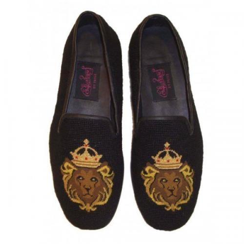 Needlepoint Lion King Loafers for Men Hand Stitched By Paige  Apparel & Accessories > Shoes > Loafers