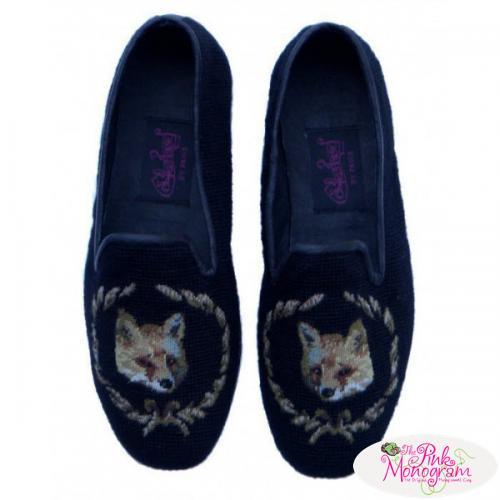 Needlepoint Fox Black Loafers for Men Hand Stitched By Paige  Apparel & Accessories > Shoes > Loafers