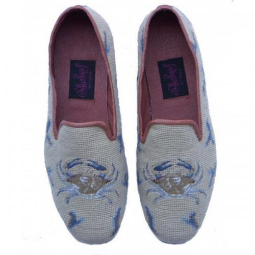 Needlepoint Blue Crab Loafers for Men Hand Stitched By Paige  Apparel & Accessories > Shoes > Loafers