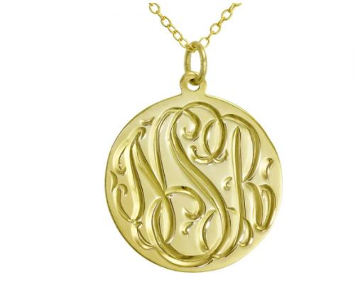 Monogrammed Hand Engraved Round Pendant In Sterling or Gold Plated   Apparel & Accessories > Jewelry > Necklaces