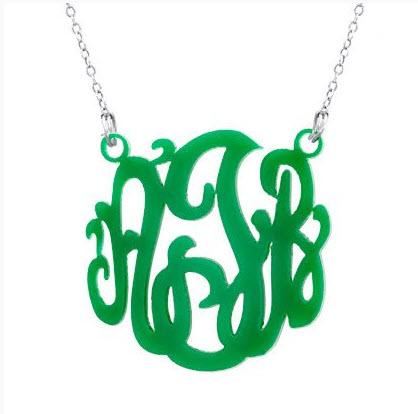 Monogram Acrylic Necklace Choose Your Color  Apparel & Accessories > Jewelry > Necklaces