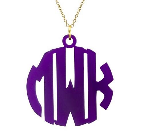 Monogrammed Necklace Hand Cut Acrylic Block Pendant from The Pink Monogram  Apparel & Accessories > Jewelry > Necklaces