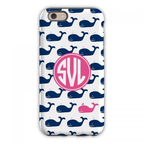 Personalized iPhone Case Whale Repeat Navy  Electronics > Communications > Telephony > Mobile Phone Accessories > Mobile Phone Cases