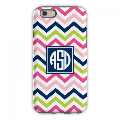 Personalized iPhone Case Chevron Pink, Navy & Lime   Electronics > Communications > Telephony > Mobile Phone Accessories > Mobile Phone Cases