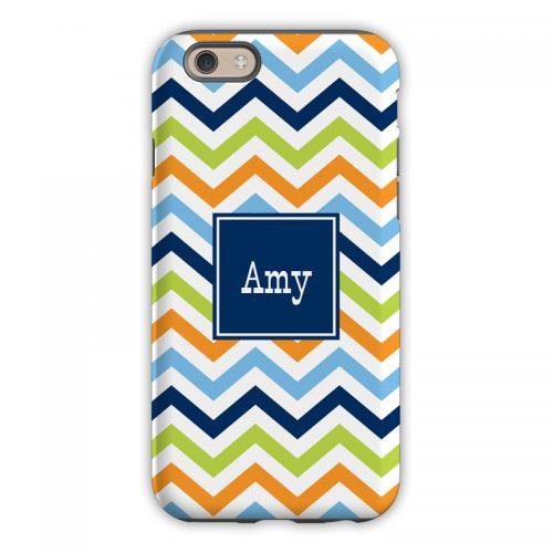Personalized iPhone Case Chevron Blue, Orange & Lime   Electronics > Communications > Telephony > Mobile Phone Accessories > Mobile Phone Cases