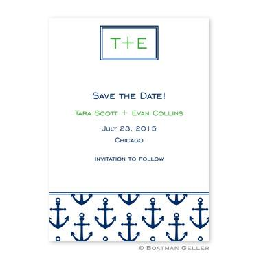 Boatman Geller Personalized Anchors Navy Flat Card Invitation  Office Supplies > General Supplies > Paper Products > Stationery
