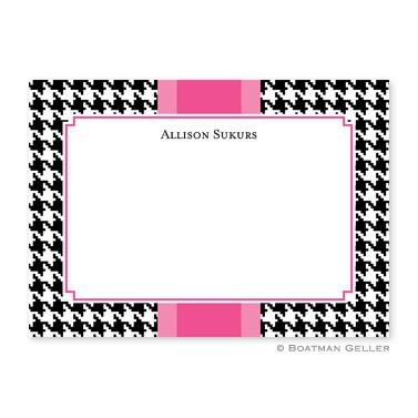 Boatman Geller Personalized Houndstooth Flat Card  Office Supplies > General Supplies > Paper Products > Stationery