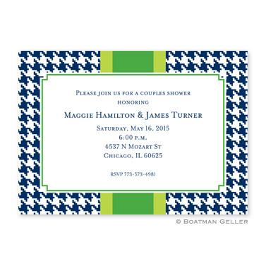 Boatman Geller Personalized Alex Houndstooth Navy Flat Card Invitation  Office Supplies > General Supplies > Paper Products > Stationery