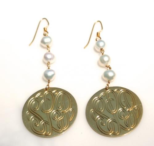 Dangle Monogrammed Earrings with pearls  Apparel & Accessories > Jewelry > Necklaces