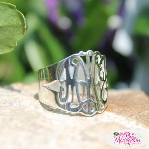 Monogrammed Hand Cut Script Ring 2 Sizes  Apparel & Accessories > Jewelry > Rings